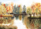 Watercolor autumn landscape with trees on islands and their reflections in a lake - 220933800