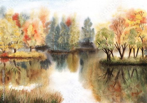 Fototapeta Watercolor autumn landscape with trees on islands and their reflections in a lake obraz