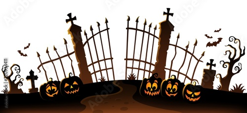 Spoed Foto op Canvas Voor kinderen Cemetery gate silhouette theme 6
