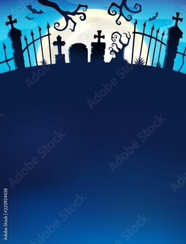 Foto op Canvas Voor kinderen Cemetery gate silhouette theme 7