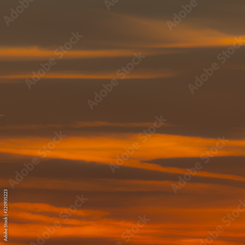 Squared image of beautiful sunset sky with clouds  Red