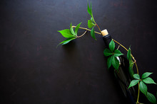 Bottle Of Red Wine, Grapes And Leaves Lying On Dark Wooden Background. Top View. Flat Lay. Copy Space
