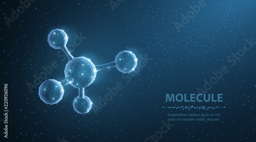 Molecule. Abstract futuristic micro molecule structure with sphere on blue background.