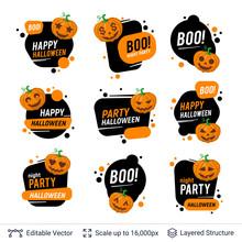 Halloween Badges Set. Carved Pumpkins And Text.