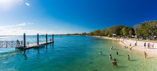 BRIBIE ISLAND, AUS - SEPT 1 2018: Beach  near the Bongaree jetty on west side of Bribie Island, Queensland, Australia
