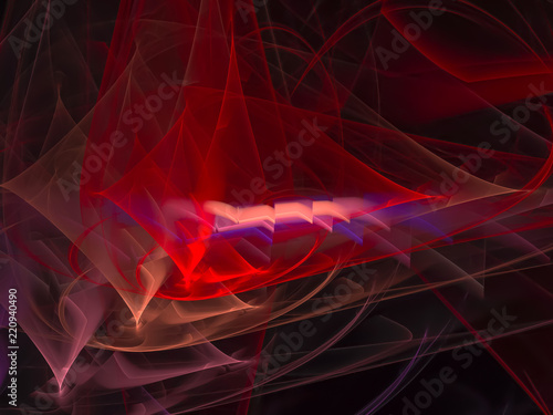 Poster Fractal waves abstract fractal color digital background, design creative