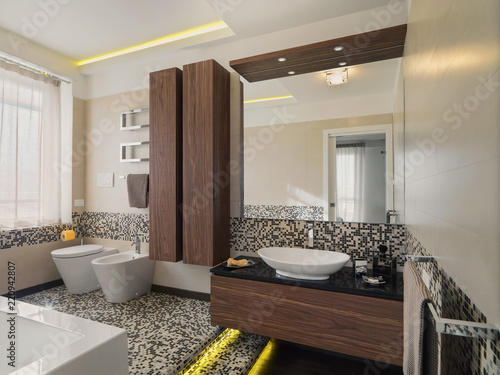 Interiors Shots Of A Modern Bathroom With Mosaic Tiles And