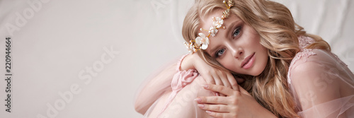 Delicate portrait of a young model girl Wallpaper Mural