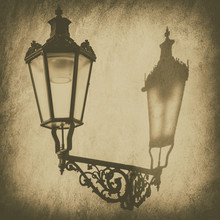 Old Lantern On The City Wall With Shadow, Retro Vintage Background