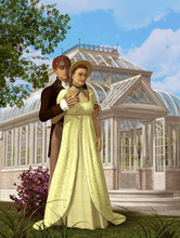 Romantic Victorian Couple In Love Meeting In A Park