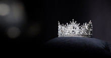 Diamond Silver Crown For Miss Pageant Beauty Queen Contest, Crystal Tiara Jewelry Decorated Gems Stone And Abstract Dark Background On Black Velvet Fabric Cloth, Macro Photography Copy Space
