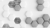 White abstract background with hexagons. 3d illustration, 3d rendering.