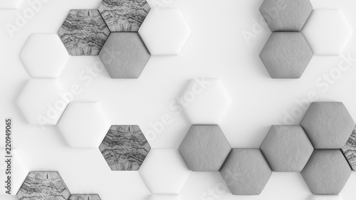 White abstract background with hexagons. 3d illustration, 3d rendering. - 220949065