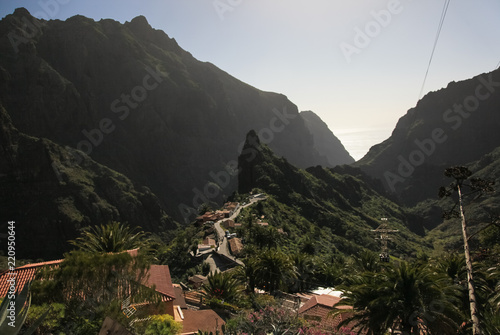 Mountain landscape of Tenerife. Volcanic island. Hills and valleys.