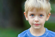 Portrait Of A Blond Boy - 4 Years Old After Tears, Copy Space