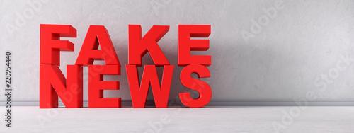 Fake News Schriftzug Rot Canvas Print