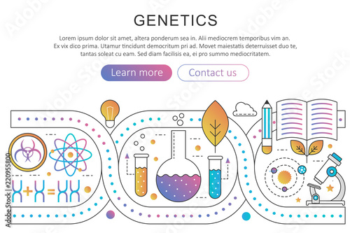 Photo Panoramic template poster of genetic engineering, nanotechnology and bio modification concept in trendy flat gradient line gradient vector illustration