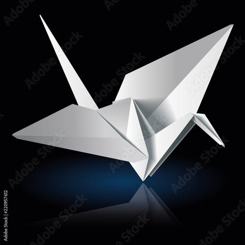 Poster Geometrische dieren Origami crane