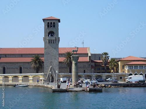 The legendary Mandraki harbour of Rhodes Greece