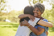 canvas print picture - Senior Mother With Adult Daughter Hugging In Park