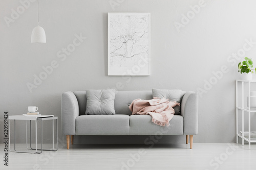 Obraz Poster above grey sofa with pink blanket in living room interior with white lamp and plant. Real photo - fototapety do salonu
