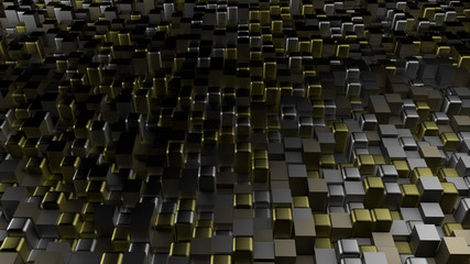 Golden black metallic background with hexagons. 3d illustration, 3d rendering.