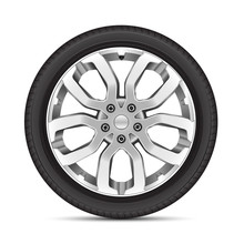 Realistic Car Wheel Alloy Sport On White Background Vector Illustration.