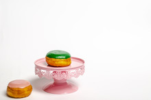 Donuts On  Pink Cake Stand