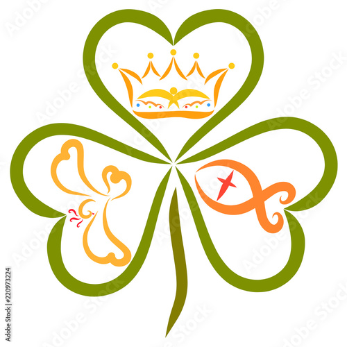 The crown, the fish and the bird in the leaves of the clover