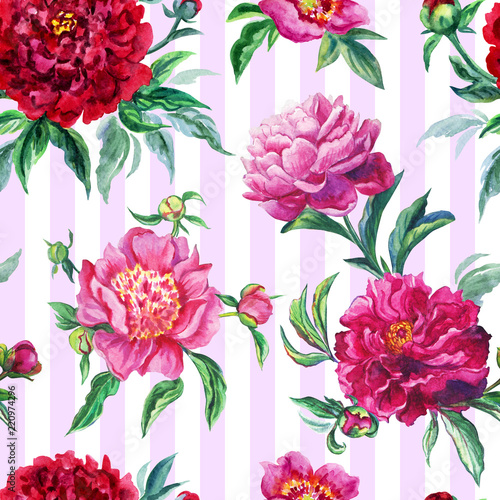 Seamless pattern of peonies on a striped background, watercolor illustration.
