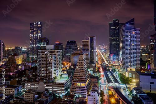 night light urban cityscape skyline in metropolis