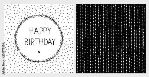 Fotografia  Cute Hand Drawn Birthday Vector Illustartions