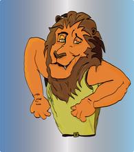 Lion In Pose Vigorous Bodybuilder Gesticulation
