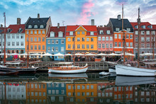 Nyhavn At Sunrise, With Colorf...