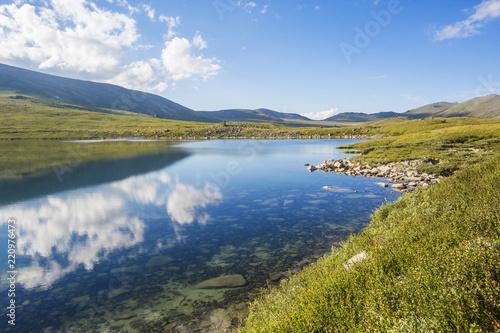 Kyrgyz lake. Altai Mountains landscape Canvas Print