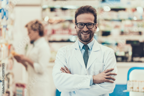 Staande foto Apotheek Portrait Smiling Pharmacist Working in Drugstore