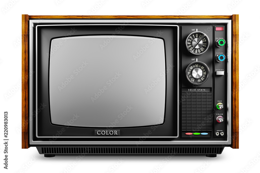 Fototapeta An old TV with a monochrome kinescope isolated 3d