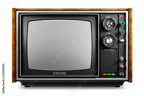 Fotografia An old TV with a monochrome kinescope isolated 3d
