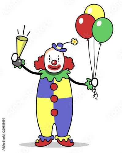 Clown Mit Luftballons Zum Karneval Oder Fasching Buy This Stock