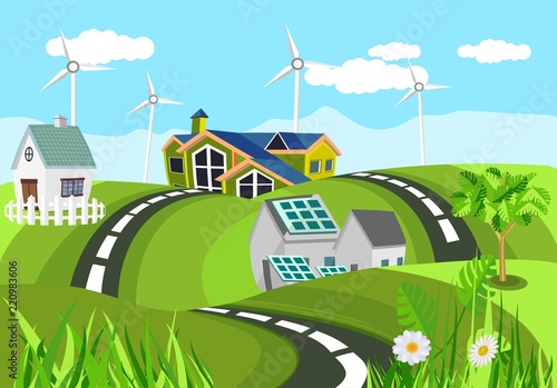 Fotobehang Lichtblauw Ecologically clean houses in green hills clean green invironment, countryside, vector illustration