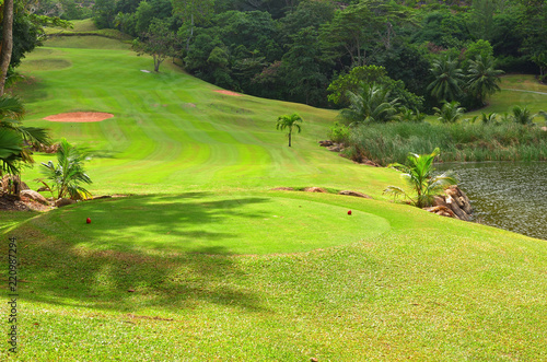 In de dag Lime groen Golf field, Seychelles