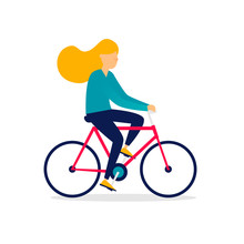 Woman Is Riding A Bicycle. Fla...