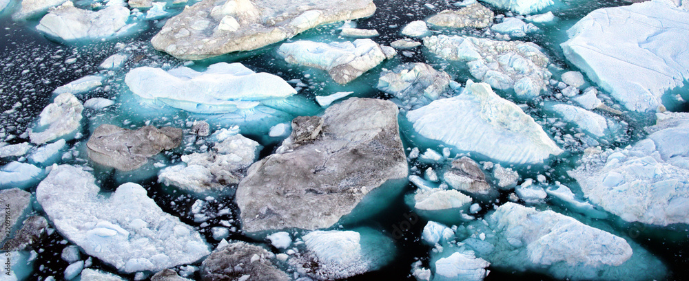 Fototapeta Climate Change and Global Warming - Icebergs from melting glacier in icefjord