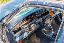 Abandoned Old Destroyed Car  Interior Close Up Shot.