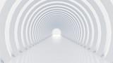 Fototapeta Perspektywa 3d - White tunnel and light. 3d illustration, 3d rendering.