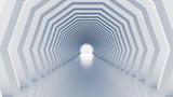 Fototapeta Do przedpokoju - White tunnel and light. 3d illustration, 3d rendering.