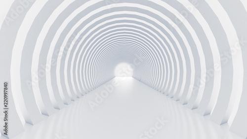 White tunnel and light. 3d illustration, 3d rendering.
