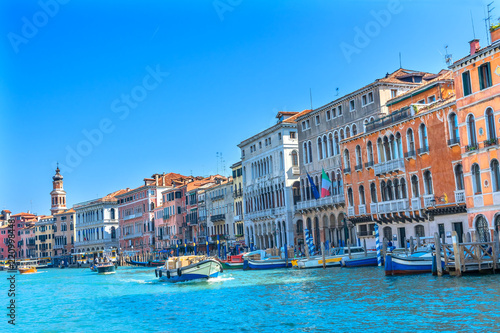 Fotografie, Obraz  Colorful Grand Canal Boats Gondolas Venice Italy