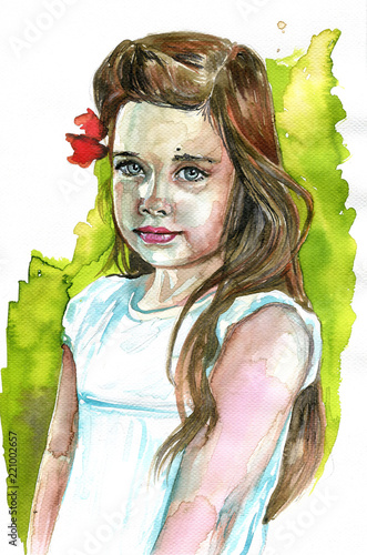 Tuinposter Schilderkunstige Inspiratie Watercolor illustration depicting a fancy woman's portrait.