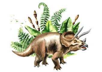 Triceratops dinosaur with prehistoriv plants. Watercolor hand drawn illustration, isolated on white background